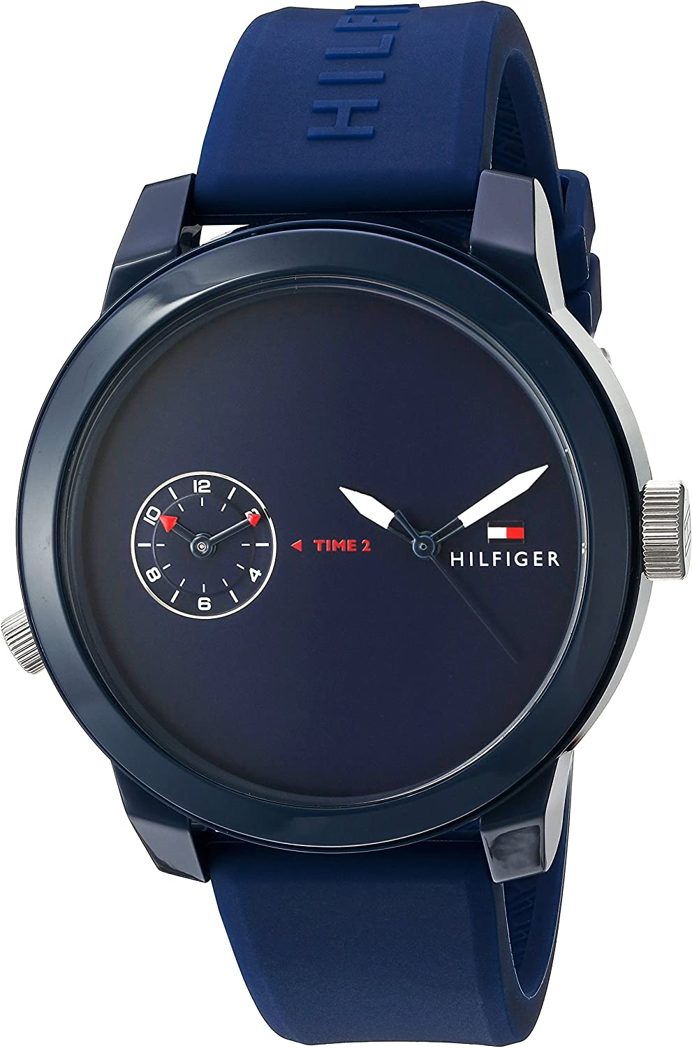 Tommy Hilfiger Mens Plastic and Rubber Casual Watch Quartz Strap  Blue  Model  1791325