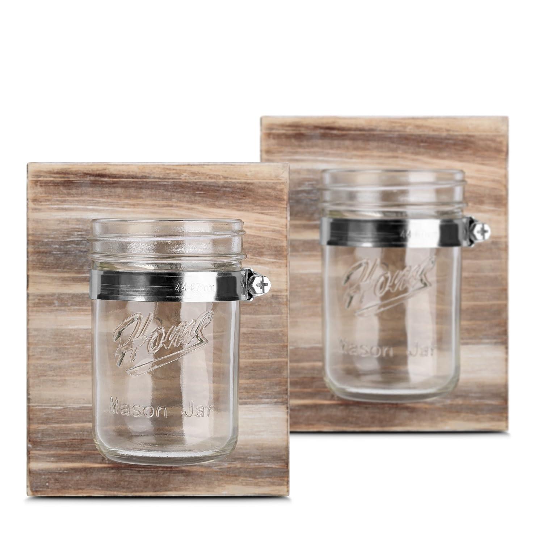 HOMKO Rustic Mason Jar Candle Holder - Mason Jar Planter set- Small Mason Jar Wall Sconce - Pair Wooden Wall Decor Mason Jar Organizers (Set of Two)