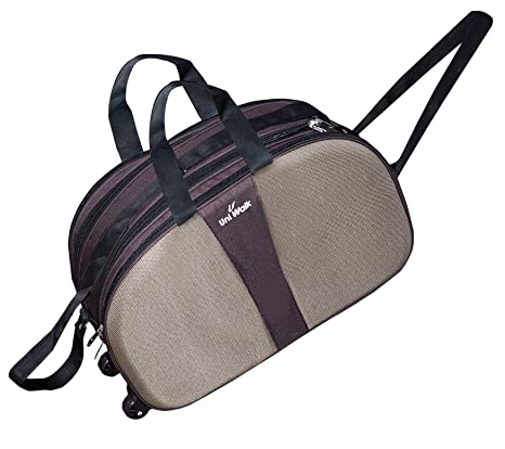 Storite Nylon Waterproof Travel Duffel Luggage Bag Cabin Shoulder Bag with Roller  Wheels - (18x9x11-inch) Brown  Amazon.in  Bags, Wallets   Luggage daccb6f283