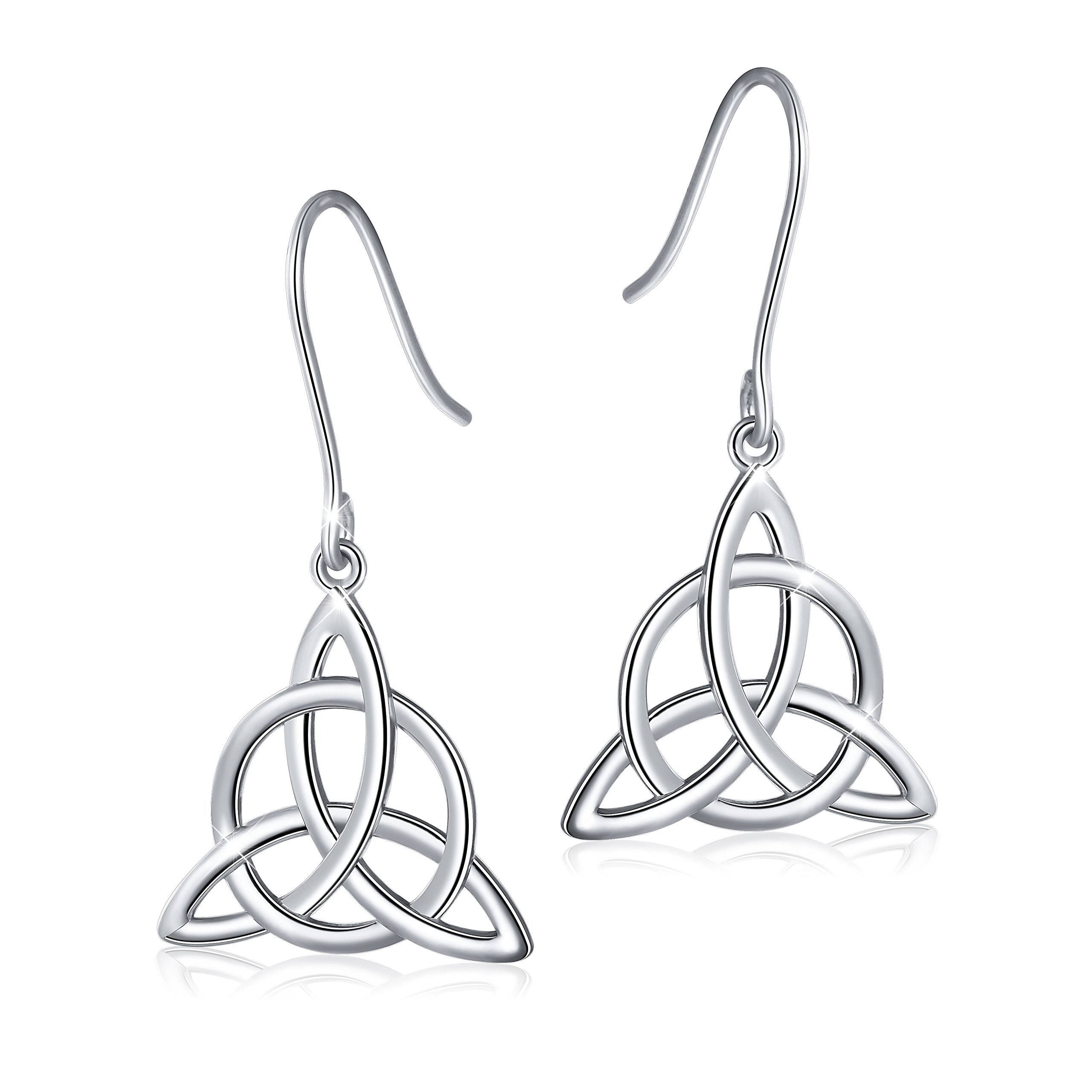 925 Sterling Silver Good Luck Irish Celtic Knot Triangle Vintage Dangle Earrings