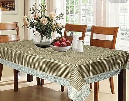 Kuber Industries Waterproof PVC 6 Seater Dining Table Cover - Brown