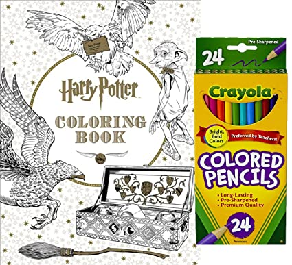 Crayola colored pencils set of 24 and harry potter coloring book by scholastic