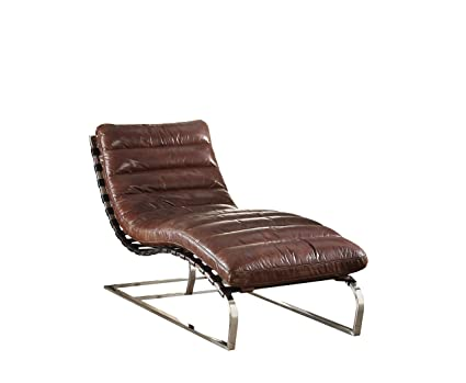 acme qortini vintage dark brown top grain leather and stainless steel chaise - Chaise Vintage