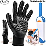 Pet Grooming Glove 2 in 1 Pet Hair Remover Brush | Furniture Hair Remover Dog Shedding Glove Cat Massage Gloves Best Gift Set for Pet Owner