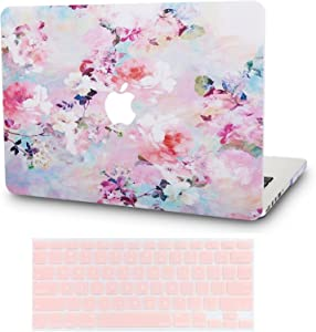 "KECC Laptop Case for MacBook Pro 13"" (2020/2019/2018/2017/2016) w/Keyboard Cover Plastic Hard Shell A2159/A1989/A1706/A1708 Touch Bar 2 in 1 Bundle (Flower 7)"