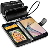 N+ India Samsung Galaxy J7 Prime / Samsung Galaxy On Nxt Next Rich Leather Stand Wallet Flip Book Pouch Soft Phone Bag Antique Leather Case With Touch Stylus Pen Black