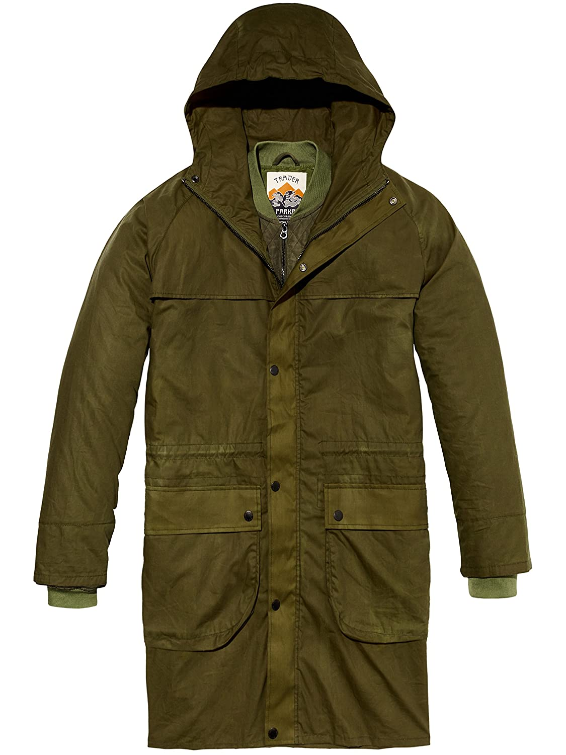 Scotch & Soda Washed Waxed Parka Jacket with Inside Bomber Layer, Hombre, Verde (Military Green 0j), X-Large: Amazon.es: Ropa y accesorios