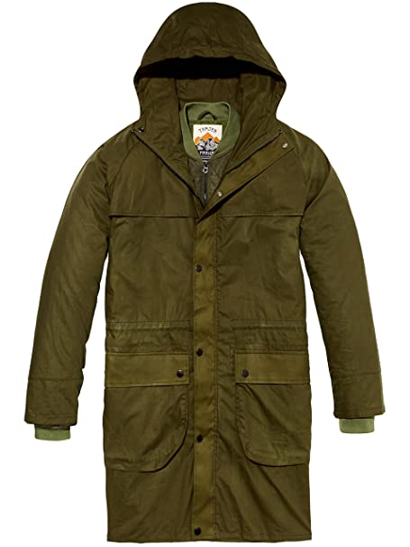 Scotch & Soda Washed Waxed Parka Jacket with Inside Bomber Layer, Hombre, Verde (