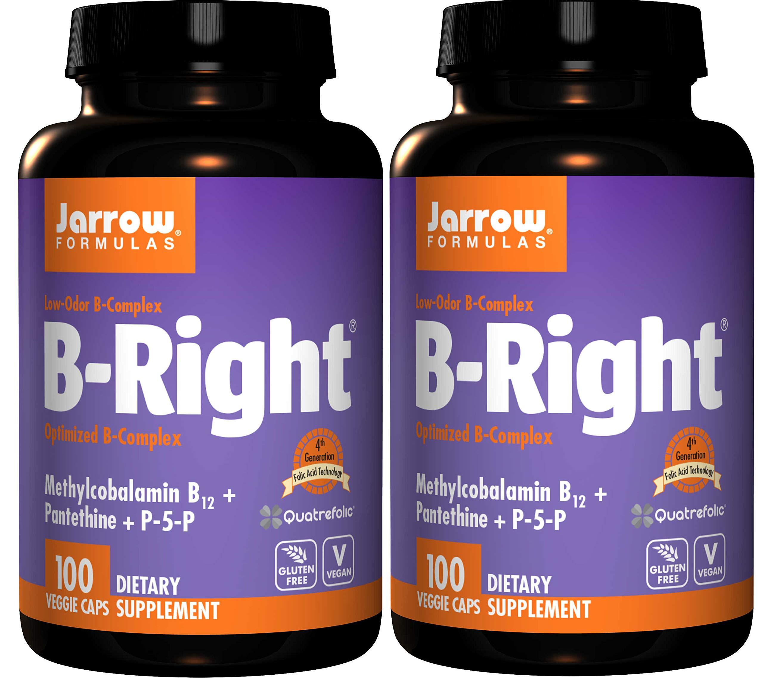Jarrow Formulas B-Right Optimized B-Complex Methylcobalamin B12 + Pantethine + P-5-P Featuring 4th Generation Folic Acid Technology Vegan and Gluten Free (100 Veggie Caps) Pack of 2