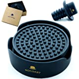 Popular Coasters for Drinks with Holder Set of 6 Black Large 4.3 inch (11cm) Size - Leak-proof Protection for Furniture against Condensation and Water Stains + Wine Bottle Stopper + Premium Box Gold