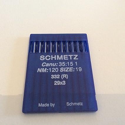 10 agujas 29X3R Schmetz (modelo Canu 35:15); agujas normales para las