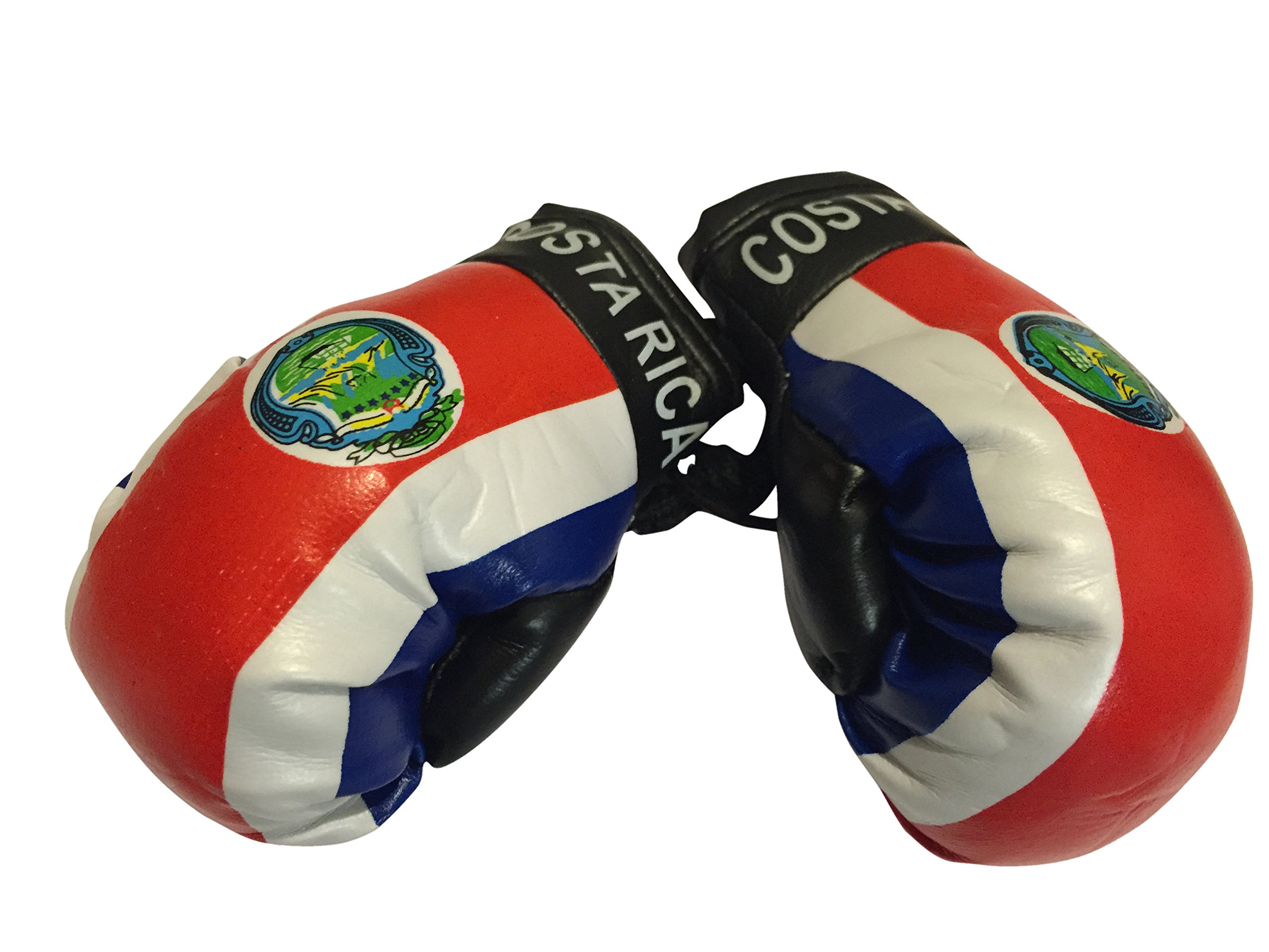 Flag Mini Small Boxing Gloves to Hang Over Car Automobile Mirror – Americas (Country: Costa Rica)
