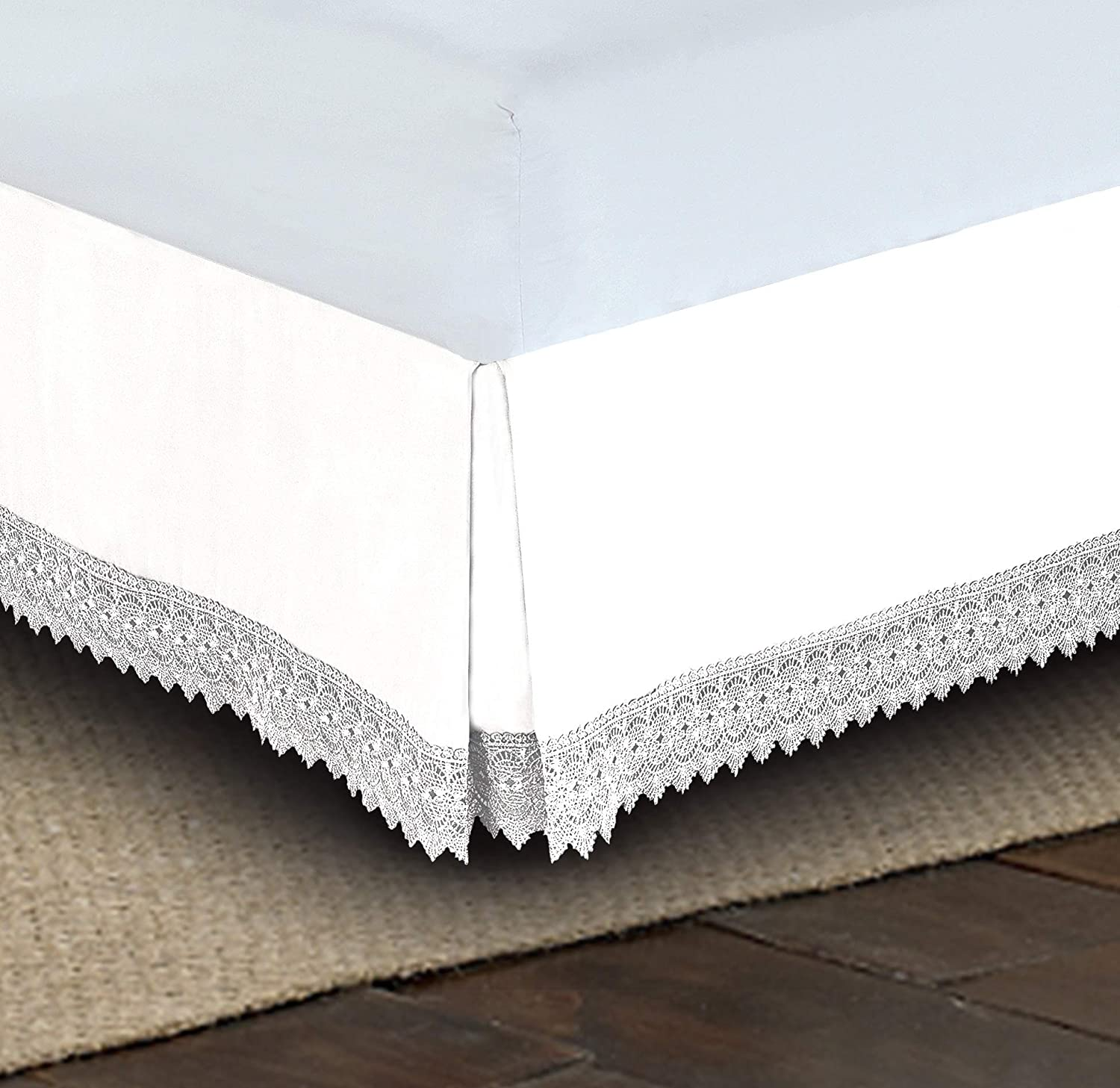 King White Elegant Comfort  Silky-Soft Luxury Lace Fringe Dust Ruffle//Bed Skirt Microfiber Platform Wrinkle and Fade Resistant with 15inch Drop