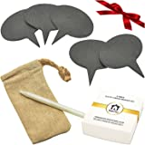 Royal Casa Cheese Markers Set. A Gift Set of 7 - 5(!) Cheese Labels Made of Natural Slate and 2 Chalk Markers