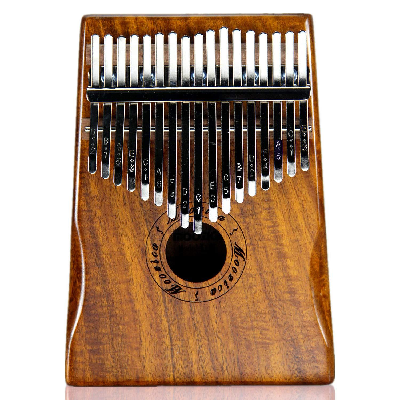 Moozica 17 teclas Kalimba, piano marimba de pulgar de madera de tono sólido de alta calidad con estuche protector e instrucción de aprendizaje (Acacia ...