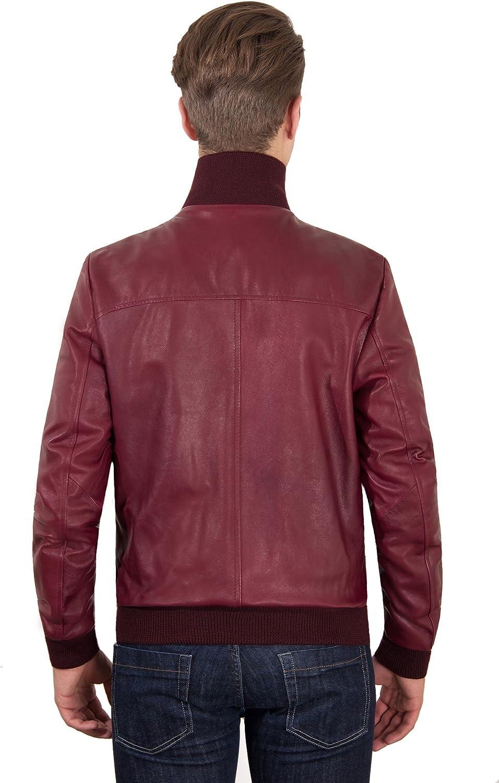 Bordeaux Nappa Lamb Leather Bomber Jacket Frontal Woven Wool