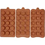 Poproo Flower Shaped 3-piece Candy Molds Set, Silicone Chocolate Molds Ice Cube Molds, Tulip Rose Sunflower Lotus Shapes