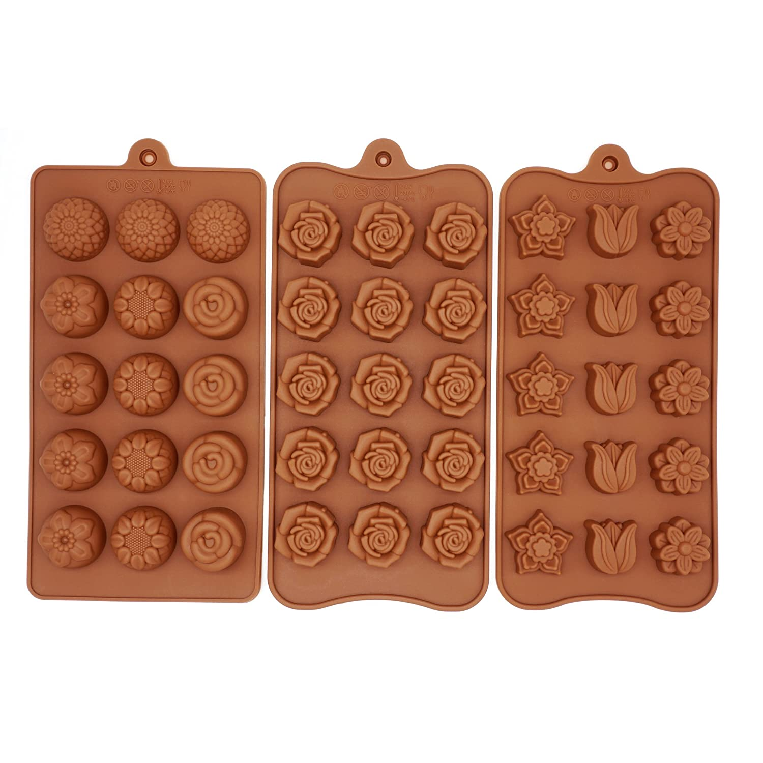 Poproo Flower 3-Piece Candy Set, Silicone Chocolate Ice Cube Molds, Tulip Rose Sunflower Lotus Shapes Q3-FRA8-V0GK