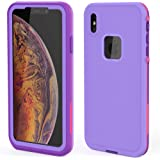 iphone xs waterproof case | iphone x waterproof case | Built-in screen protector | dust-proof Shock-proof Dirt-proof Sand-proof | Heavy-Duty Military-Grade Drop Protection For iphone xs / x (Purple)