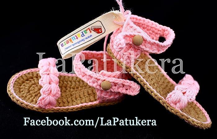 Patucos Sandalias modelo Trenzadas para bebé de crochet, de color ...