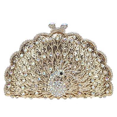 Fawziya Peacock Purse Evening Bag Metallic Animal Shape Clutch Cute Clutches-AB  Gold 12ea0261992e