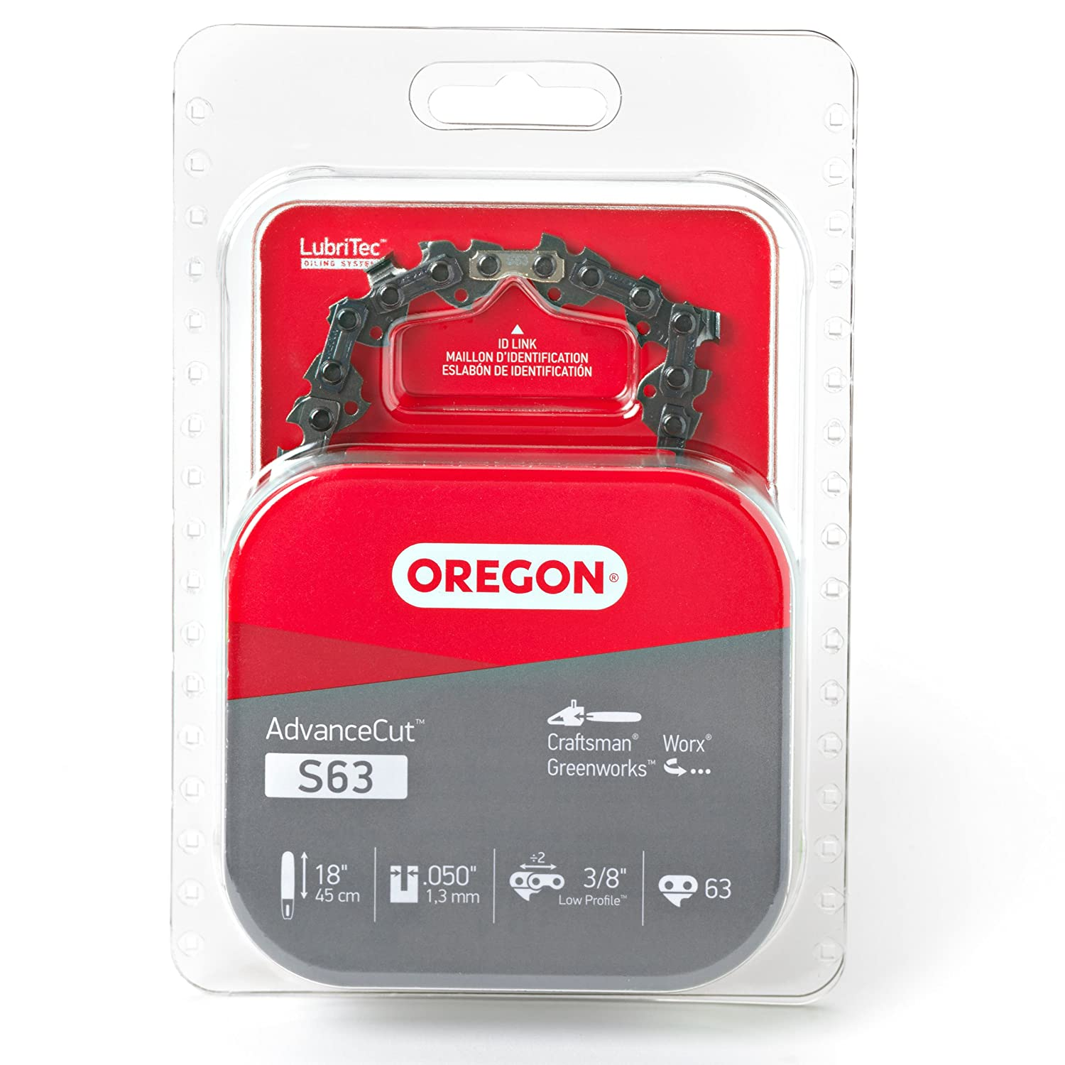 Oregon S63 AdvanceCut 18-Inch Chainsaw Chain, Fits Craftsman, Worx, Greenworks, Grey
