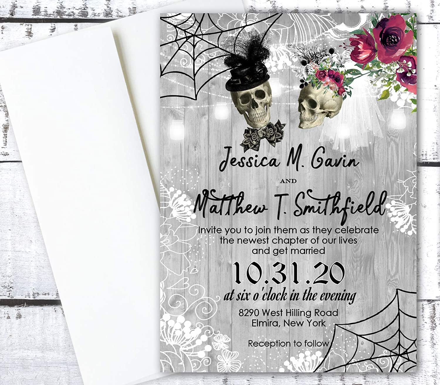Amazon Com Halloween Wedding Invitations October Invites And Rsvp Cards Qty Of 50 Handmade
