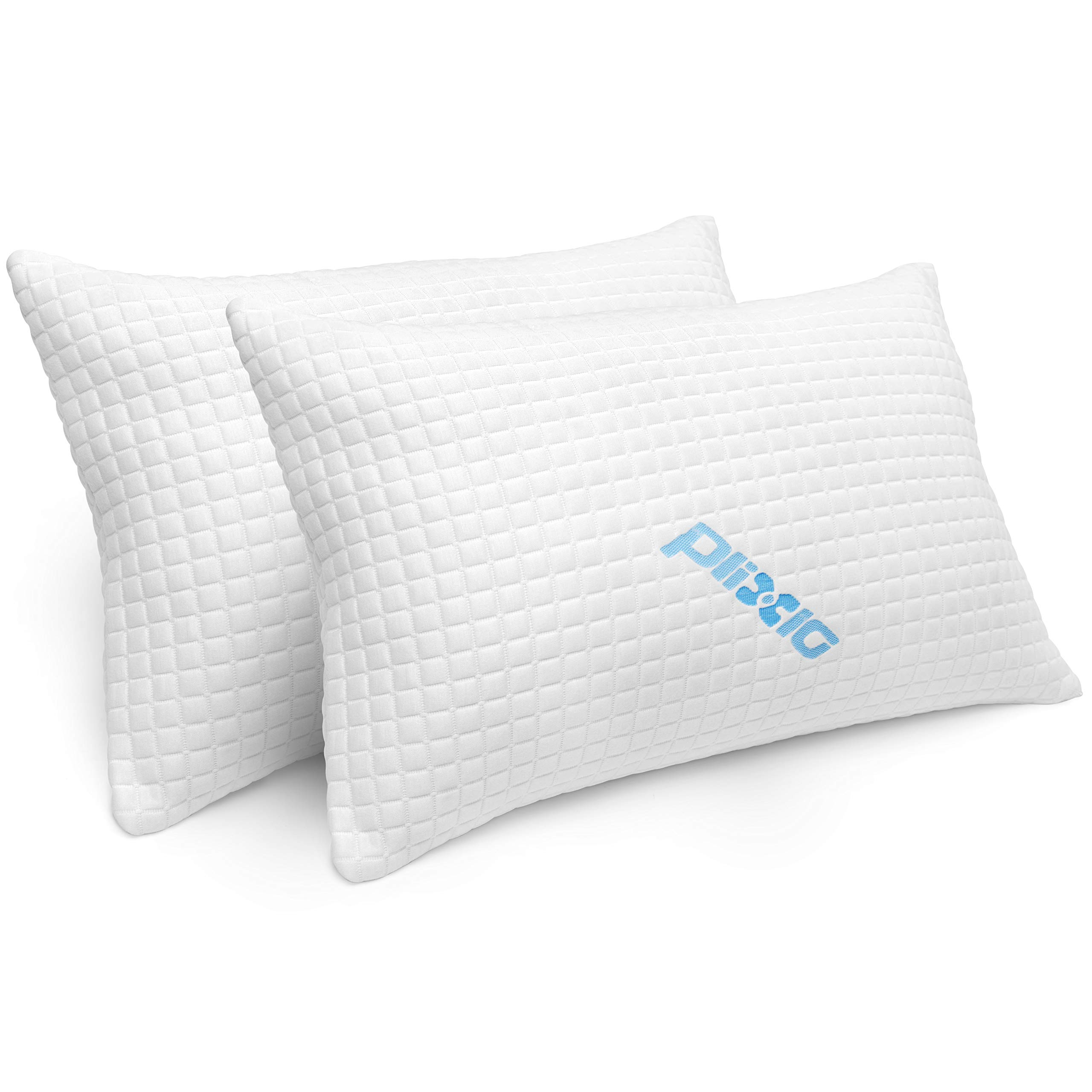 2 Pack Shredded Memory Foam Bed Pillows for Sleeping - Bamboo Cooling Hypoallergenic Sleep Pillow for Back and Side Sleeper - Queen Size by Plixio