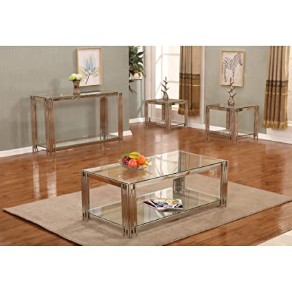 Amazon Com Overstock Furniture 4 Piece Glass Top Coffee Console