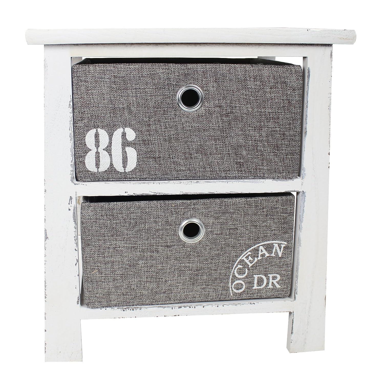 Holz Regal mit 2 Kisten weiß grau M - 41,5cm