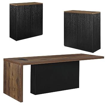 neu.haus] Chef-Schreibtisch mit 2 Aktenschränken Regal schwarz ...