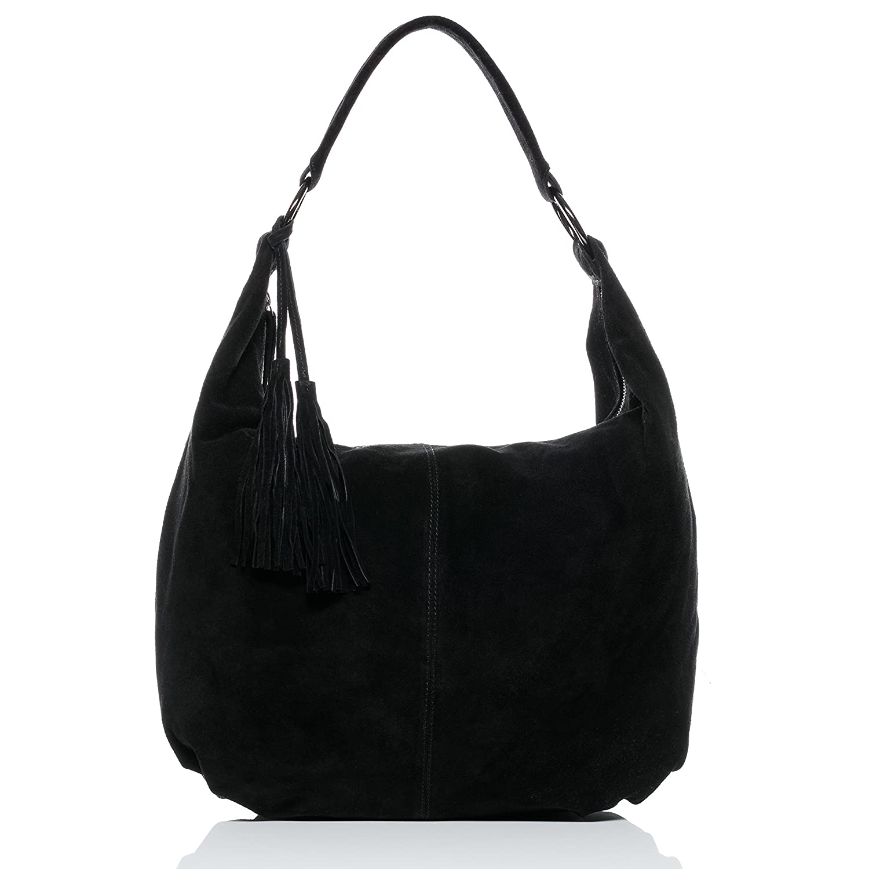 29b18204e908 BACCINI Real Suede Leather hobo Bag Selina Large Shoulder Bag Cross-Body  Bag Long Shoulder Strap Leather Bag Women´s Bag Black