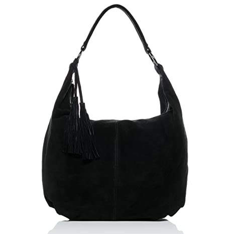 1461cf24f8 BACCINI real suede leather hobo bag SELINA Large shoulder bag cross-body bag  long shoulder strap leather bag women´s bag black  Amazon.co.uk  Luggage