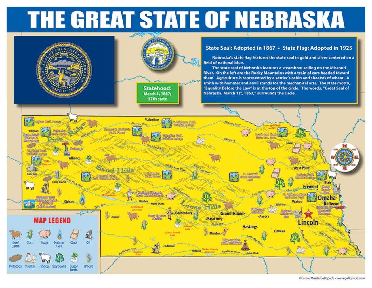 Amazon Com Gallopade Publishing Group Nebraska State Map For