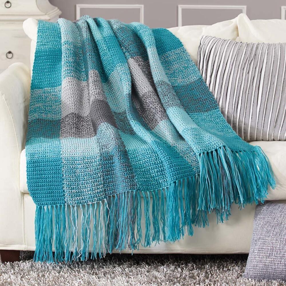 Herrschners Stormy Skies Plaid Blanket Crochet Afghan Kit