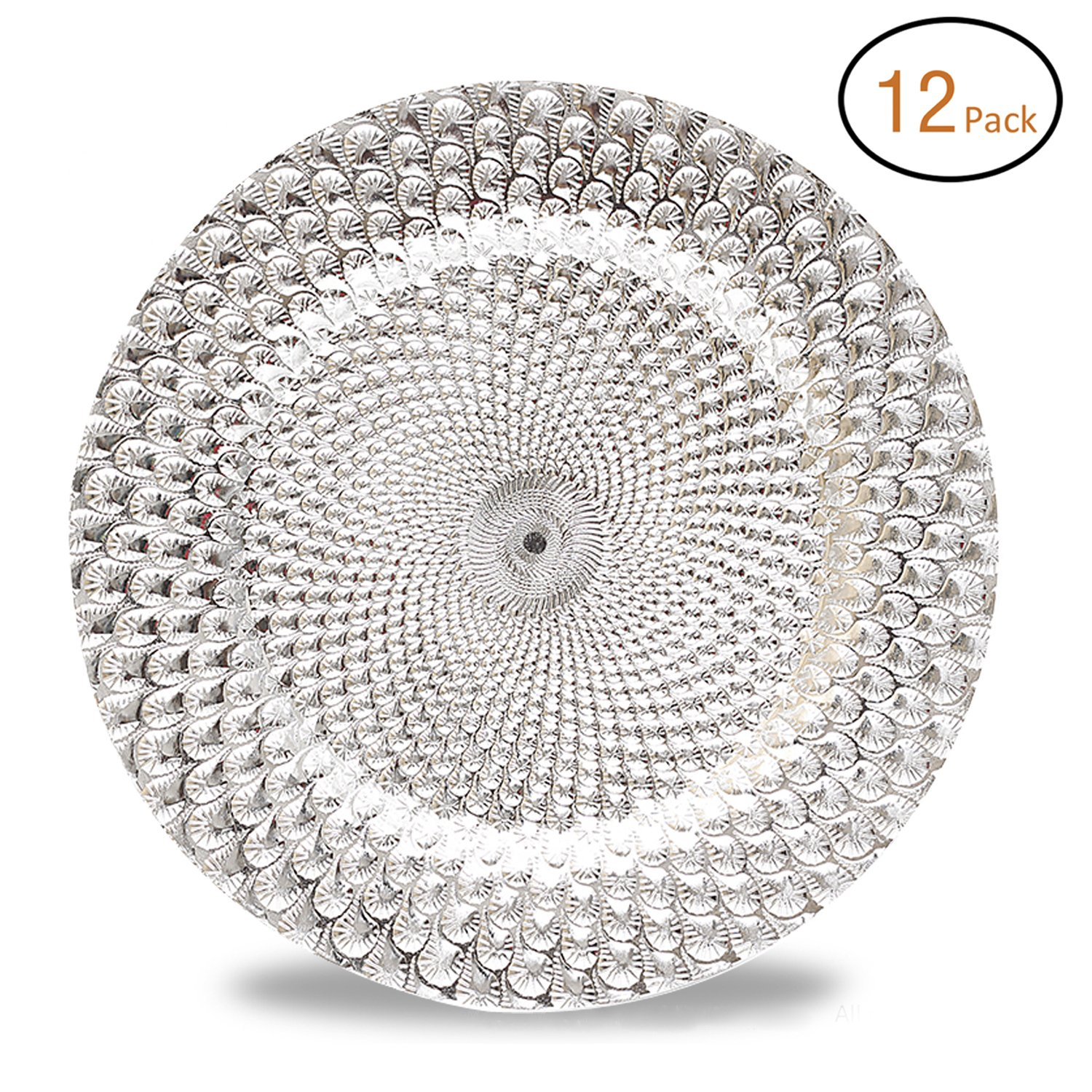 FANTASTIC :) Round 13 Inch Plastic Charger Plates with Eletroplating Finish (1, Beads Gold) Fantastic:)