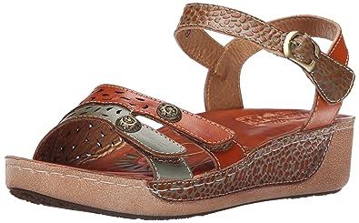 L'Artiste by Spring Step Women's Freja Flat Sandal, Camel Multi, 35 EU