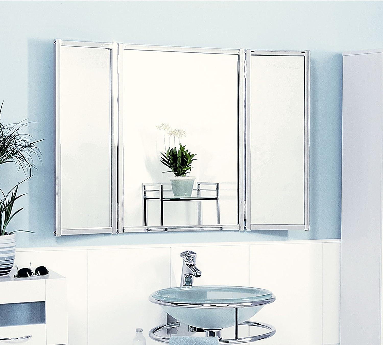 Badezimmerspiegel Dreiteilig.Badspiegel Klappbar Amazon De Kuche Haushalt
