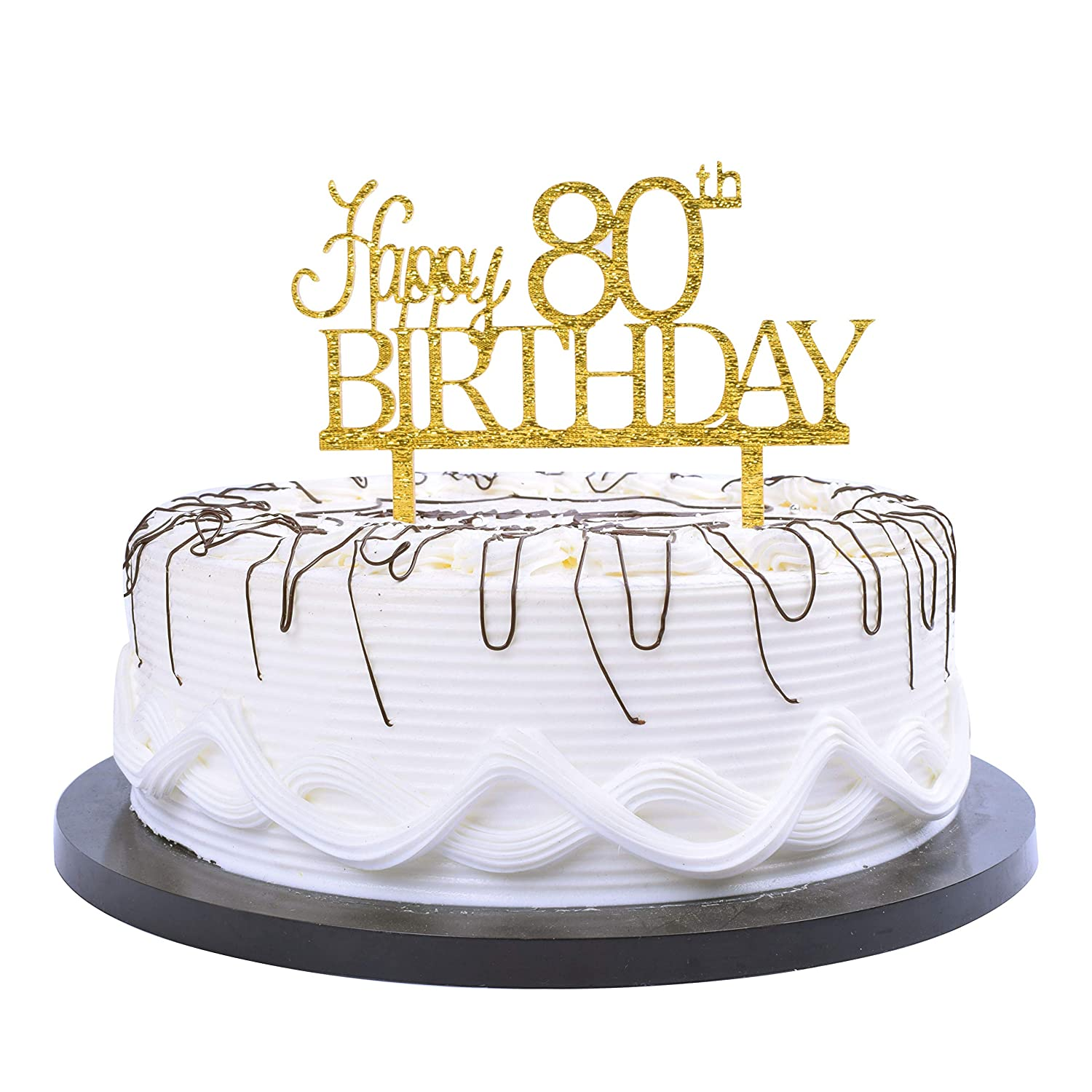 Amazon YUINYO Happy 80th Birthday Cake Topper Gold Party Decoration Supplies Calligraphy Bling Sign Banner Toys