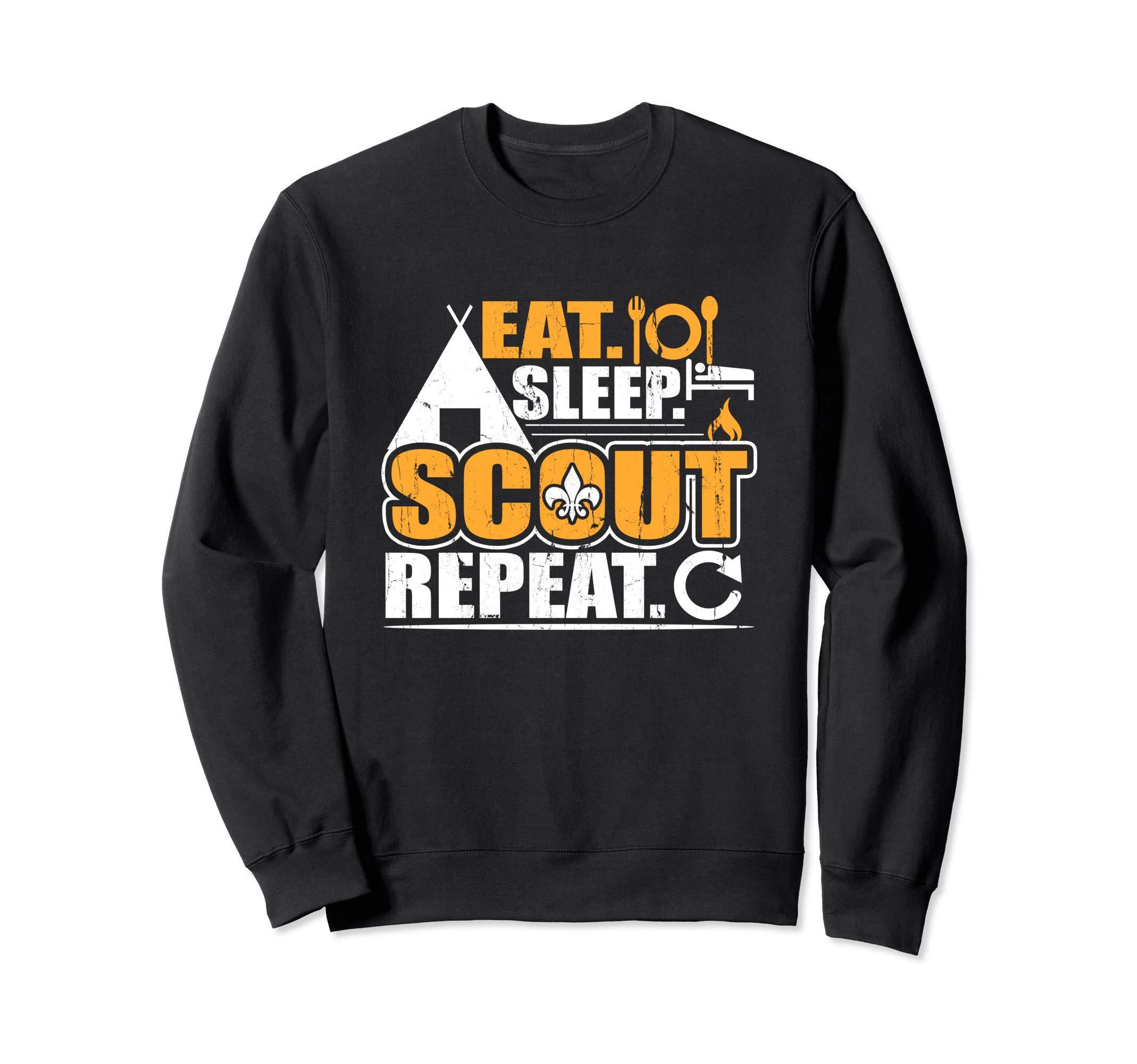 Eat Sleep Scout Repeat Cub Camping Scouting Boy Troop Leader Sweatshirt by Scouting Designs By Ark