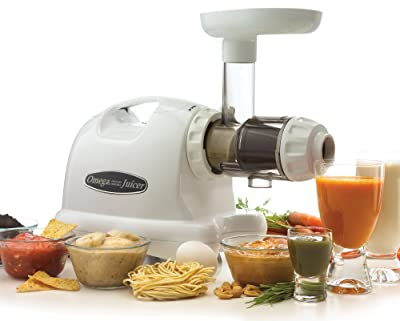 Omega J8004 Nutrition Center Quiet Dual-Stage Slow Speed Masticating Juicer Creates Continuous Fresh Healthy Fruit and Vegetable Juice