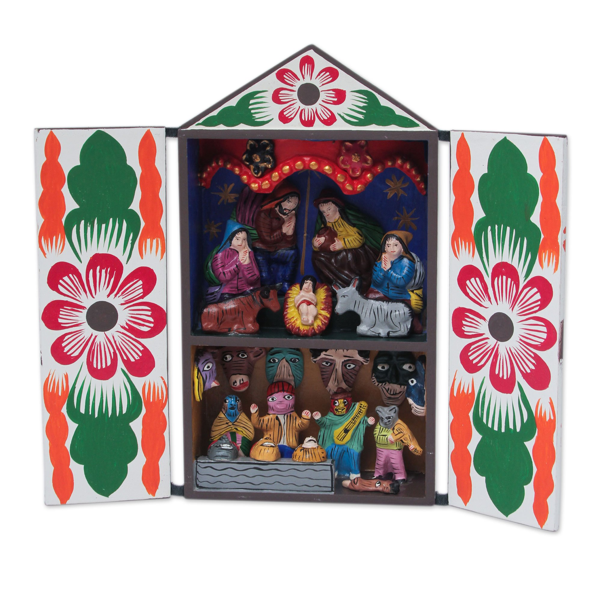 NOVICA 'Christmas with Musicians' Wood Retablo