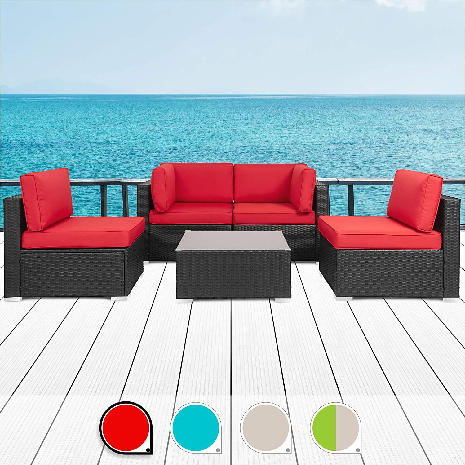 Walsunny 5pcs Patio Outdoor Furniture Sets,Low Back All-Weather Rattan Sectional Sofa with Tea Table Washable Couch Cushions Black Rattan Red
