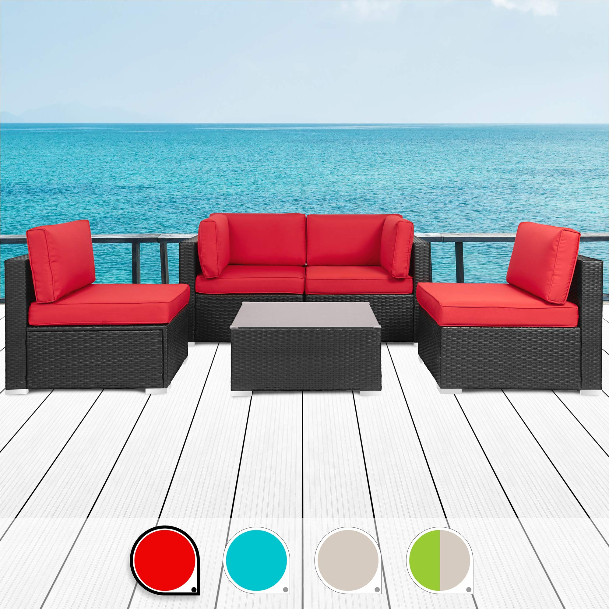 Walsunny 5pcs Patio Outdoor Furniture Sets,Low Back All-Weather Rattan Sectional Sofa with Tea Table&Washable Couch Cushions (Black Rattan) (Red) by Walsunny