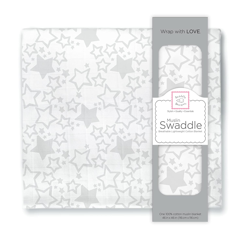 SwaddleDesigns X-Large Cotton Muslin Swaddle Blanket, Sterling Starshine