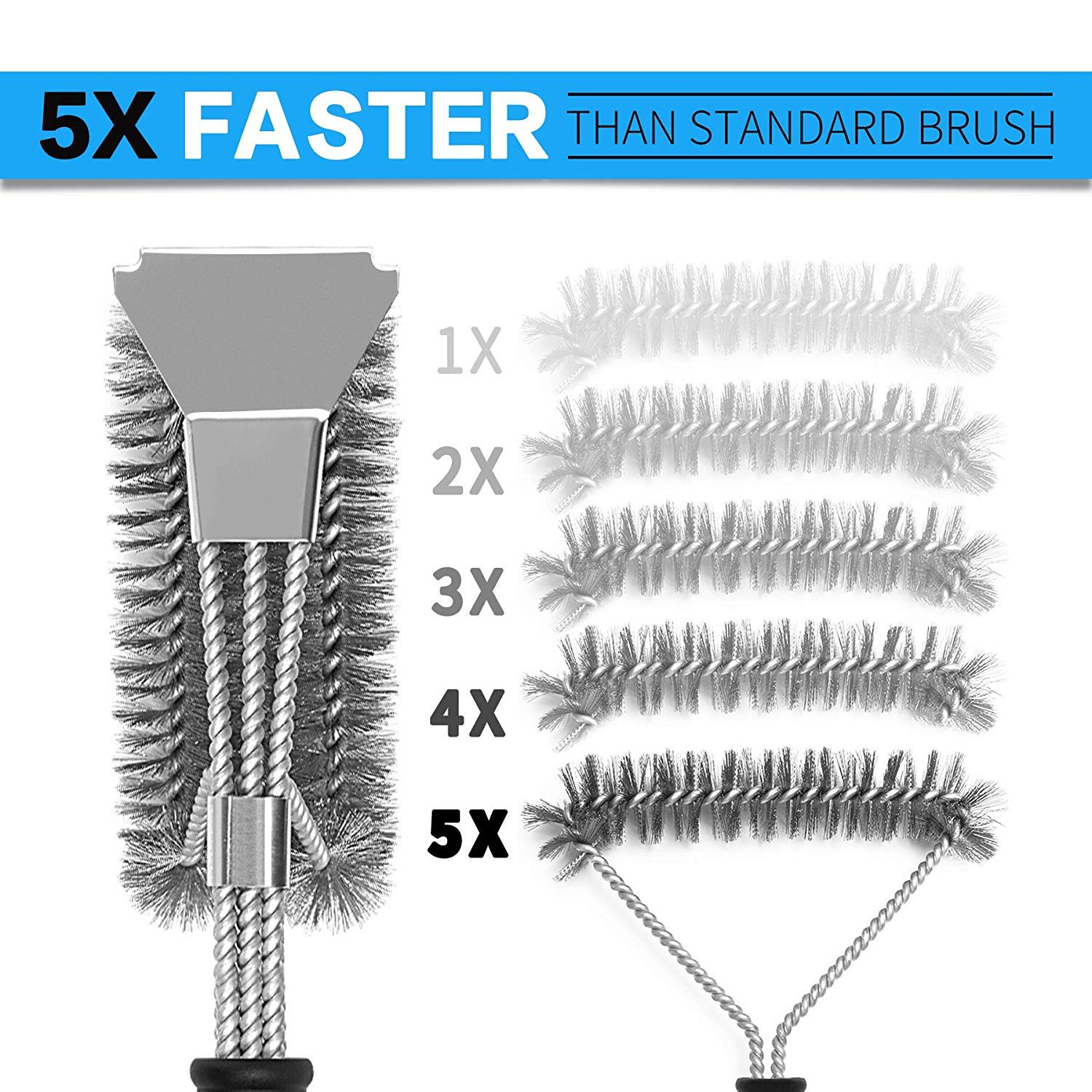 BBQ Grill Brush Set of 2, Safe Grill Cleaning Brush Stainless Steel Bristle Free with Scraper for Porcelain, Cast Iron, Stainless Steel, Ceramic Grill Grate Cooking Grid, 18'' Grill Tools Accessories by GASPRO (Image #8)