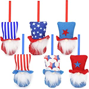 welltop Patriotic Gnome, 4th of July Gnome Independence Day Hanging Ornaments Set of 6, Patriotic Gnomes Decorations Handmade Plush, for Veterans Day Gift Elf Home Wall Decor (Red + Blue)