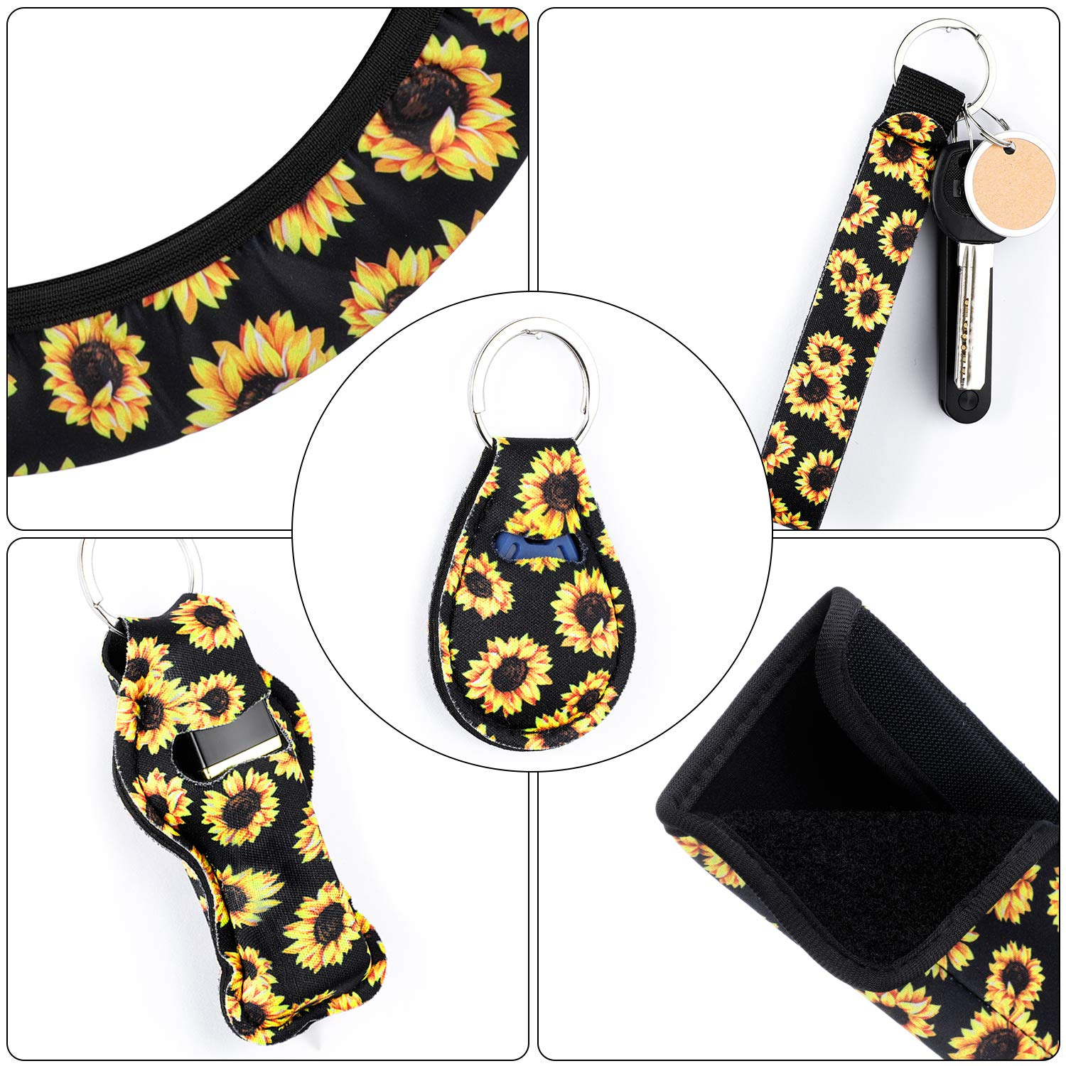 Cute Sunflowers Keyring Car Vent Decorations and Seat Belt Shoulder Pads 10 Pieces Sunflower Car Accessories Set Include Sunflower Steering Wheel Cover