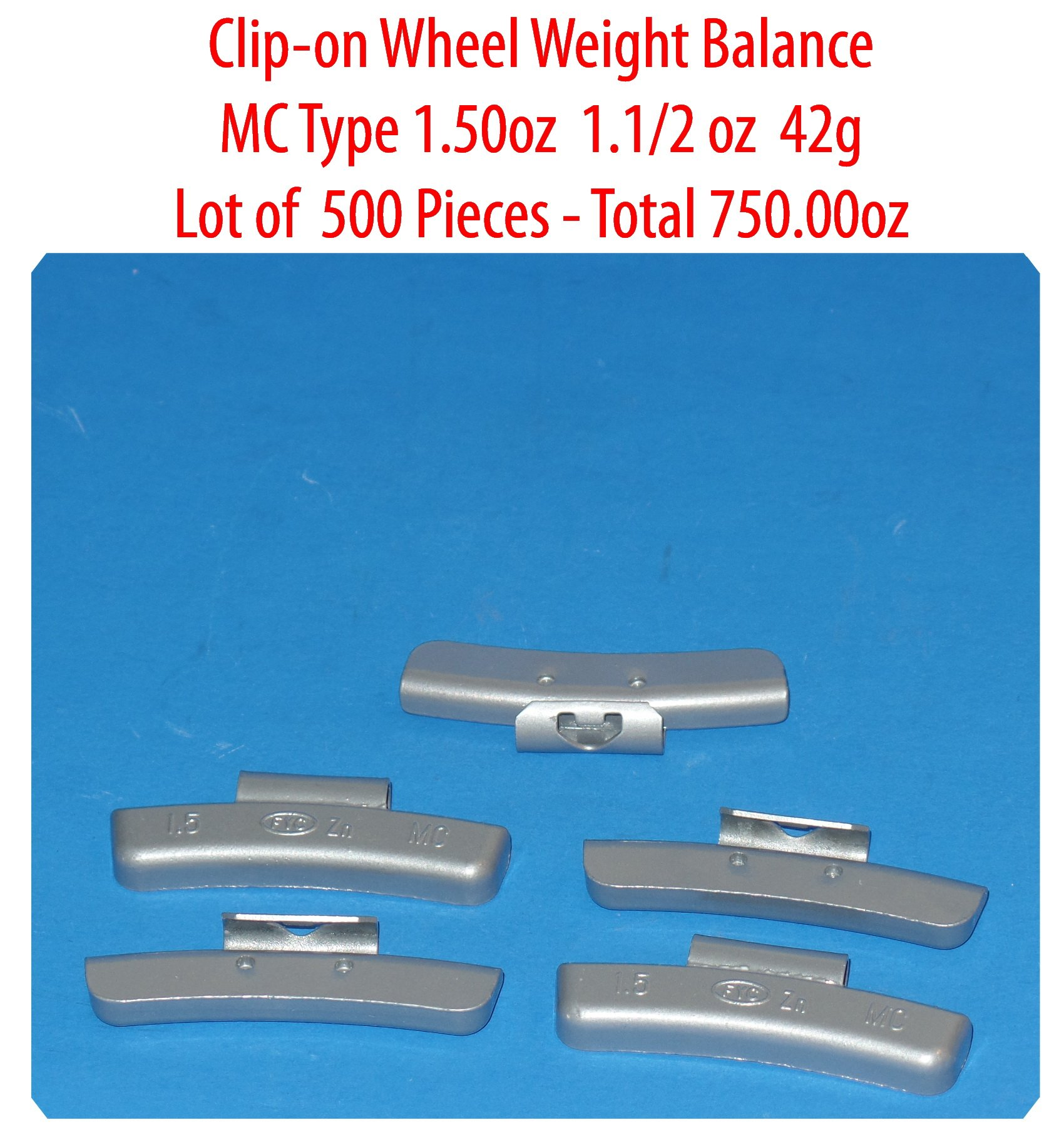 (500 Pieces) ZN CLIP-ON WHEEL WEIGHT BALANCE 1.50 1.1/2oz MC Type Total 750.00oz (Use for All Types of Alloy wheels On Passenger Cars , Trucks , Vans & Motorcycles)