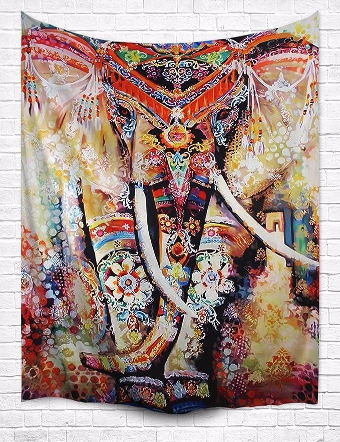 """A.Monamour Multicolore Bohème Floral Éléphant Indien Hippie Mandala Tatouage Psychédélique Marron Manteau Taché Tissu Tapisserie Décors Muraux Pour Dortoirs 203x153cm / 80"""""""